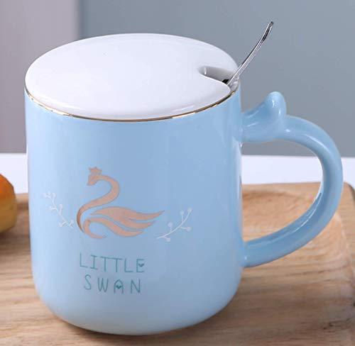 Fresh and Simple Mug with lid Spoon Elegant Ceramic Water Cup Labor-Saving Handle swan Water Cup
