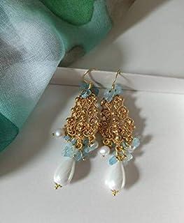 Orecchini Chandelier in Ottone con Perle di Majorca e Acquamarina