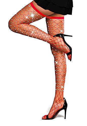 Women's Thigh High Stockings Rhinestone Fishnet Elastic Stockings Big Fish Net Tights Pantyhose (Red)