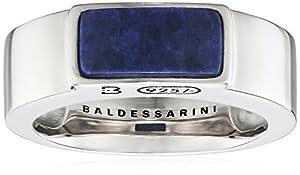 Baldessarini Herren-Ring 925 Silber rhodiniert schwarz lackiert Lapis Lazuli blau 66 (21.0) - Y2122R/90/E4/66