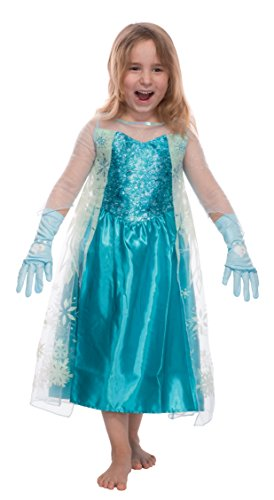 Mädchen Eiskönigin Prinzessin ELSA Schneeprinzessin Kostüm Kinder - Handschuhe und Kleid - Gr 104 cm (3-4 Jahre)