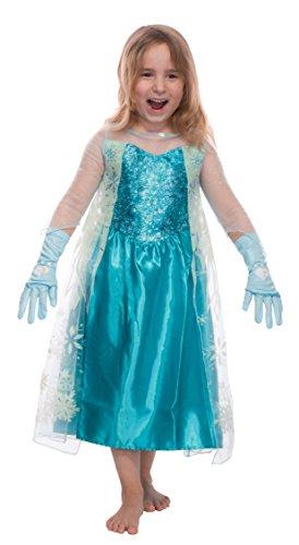 Mädchen Eiskönigin Prinzessin ELSA Schneeprinzessin Kostüm Kinder - Handschuhe und Kleid - Gr 116 cm (5-6 Jahre)