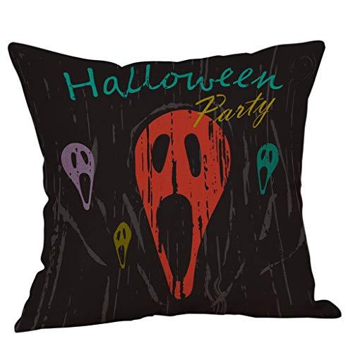 PUHFDM Halloween Pillow Covers Pumpkin Theme Linen-cotton Throw Pillow Case Thanksgiving Home Decorations for Cushion Sofa Party (L)