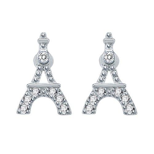 AoedeJ Eiffel Tower Stud Earring 925 Sterling Silver Earrings Cubic Zirconia Small Earrings for Women and Girls