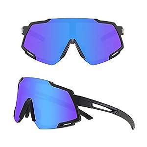 Desikit Polarized Cycling Glasses, UV400 Men Women Sports Sunglasses with 3 Interchangeable Lenses, Running Fishing Golf