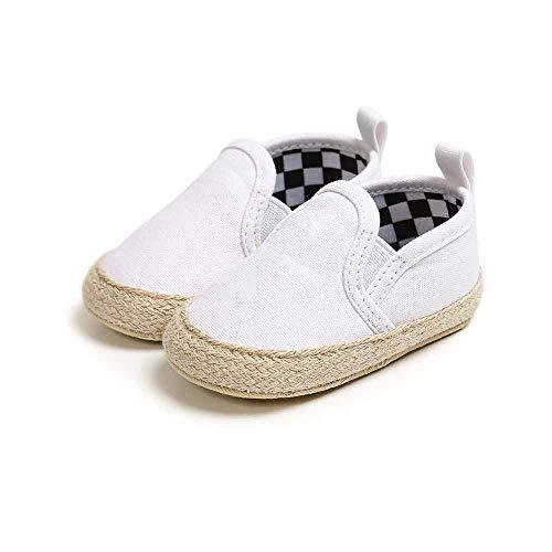 Baby Leinwand Schuhe, Morbuy Babyschuhe Neugeborene Mädchen und Jungen Kleinkind Weiche Alleinige Anti-Rutsch Streifen Prüfen Krabbelschuhe Wanderer Schuhe (Weiß,13cm / 12-18 Monate)