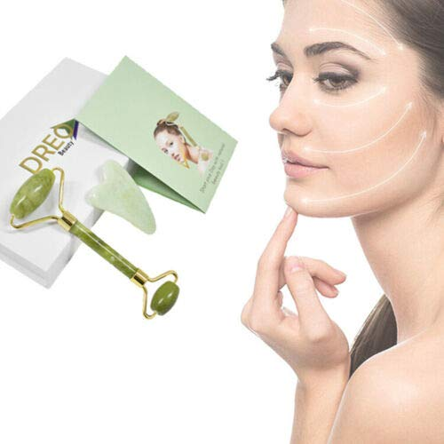 Best Jade Roller & Gua Sha Scraping Tool Set for Face and Neck - Skin Care Solution for Anti-Aging & Anti-Wrinkle - 100% Natural Stone Facial Set in Gift Box by DREO