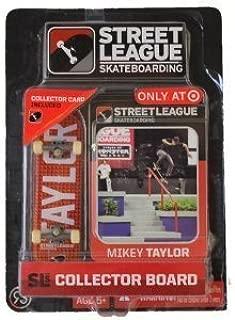 Street League Skateboarding Fingerboard - Mikey Taylor - White Letters Over Orange Block Pattern by SLS