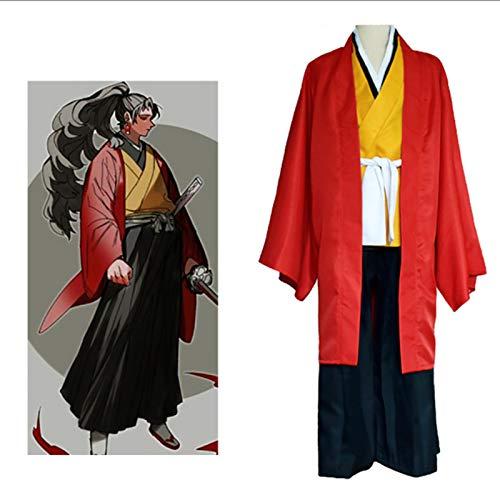 GNZY Cosplay Disfraz Kimetsu No Yaiba Cosplay Costume Ropa Tradicional Japonesa Adulto Disfraz De Halloween (Incluyendo Kimono Negro + Kimono Amarillo + Pantalones + Cinturn + Accesorios)