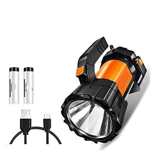 JSJJAUA Faroles de Mano Super Luminoso LED Reflector Linterna con luz 6 Modos de iluminación Secundarios Desarrollado por 18650 for Acampar al Aire Libre (Emitting Color : High Version B)