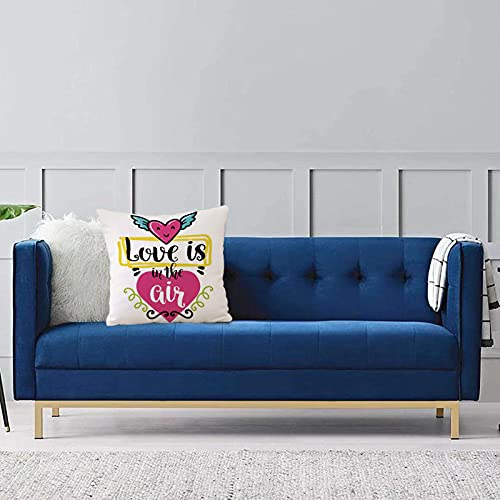 Set de 1 x Funda de Almohada 40x40cm,Cita, el Amor está en el Aire Frase Dentro de la Figura de corazón con alas Gráfico romántico de Fundas de Cojines de Calidad con una Suavidad Incomparable
