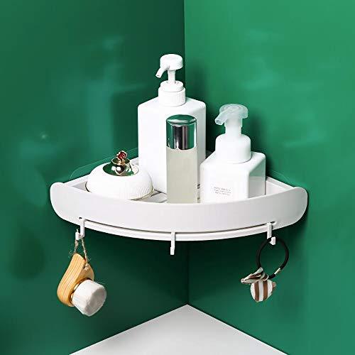 LSBQQ Estantería De Esquina para Baño Organizador Estantes Cesta para Ducha Baldas De Baño Transparente Adhesivos Sin Taladro Plástico PP (Triángulo,3 Piezas),Blanco
