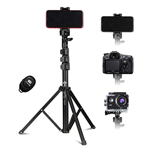 Geekoto Tripod Stand Selfie Stick Tripod:Portable All-in-One Extendable Tripod Stand with Bluetooth Remote for Cell Phones/Heavy Duty Aluminum/Lightweight