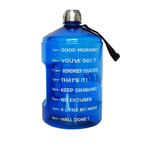 BuildLife 1 Gallon Water Bottle Motivational Fitness Workout with Time Marker/Drink More Daily/Clear BPA Free/Large 128OZ Capacity Throughout The Day(Blue,1 Gallon)