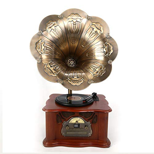 WOPOO Horn Gramophone, Phonograph U Disk Playback Wireless Bluetooth Playback Home Decoration The Best Gift for Family and Friends Record Players