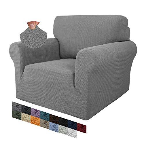 MAXIJIN Creative Jacquard Stuhlbezüge für das Wohnzimmer, Rutschfester Super-Stretch-Stuhlbezug mit Armen Hunde Haustierfreundlicher 1-teiliger elastischer Sofa-Couchschutz (1 Sitzer, Hellgrau)