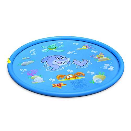 deAO Colchoneta Acuática Rociadora Splash Pad Alfombra de Juegos con Aspersores Incorporados para Juegos de Agua al Exterior, Jardín y Patio Actividad Infantil de Verano para Niños y Niñas (Azul)