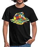 Rubik's Cube en Train De Fondre T-Shirt Homme, L, Noir