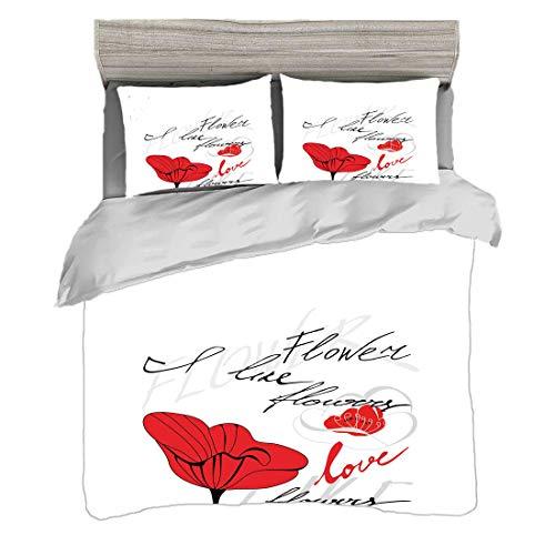 Funda nórdica Tamaño doble (150 x 200 cm) con 2 fundas de almohada Amapola Juegos de cama de microfibra Flor roja estilizada con el amor romántico de la inscripción de la naturaleza y la flor,gris esc