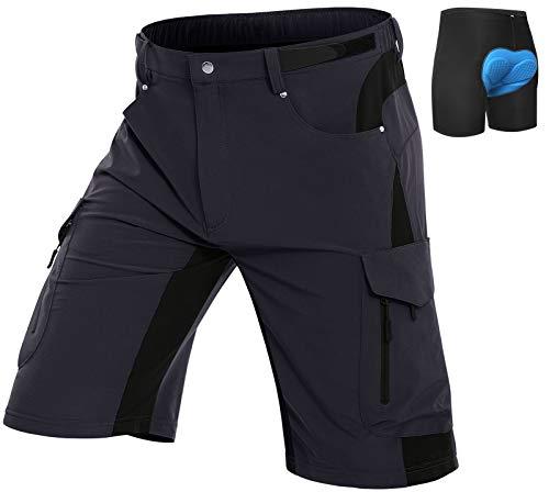 Vzteek Herren MTB Hose Fahrradhose mit Gepolstert, Schnelltrocknende MTB Shorts Mountainbike Hose Herren(Schwarz,XL)