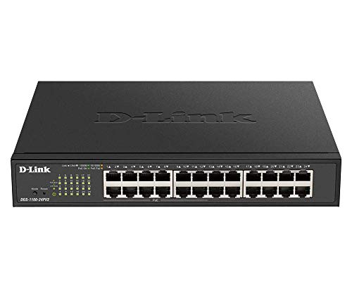 D-Link DGS-1100-24PV2 Smart Switch Gestito Poe, 24 Porte Gigabit di Cui 12 Porte Poe a 100W, 802.3af/at, Supporto VLAN, Funzionalità Layer 2, QoS, 802.3az EEE, Senza Ventole