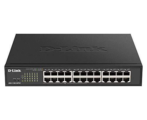 D-Link DGS-1100-24PV2 24-Port Gigabit PoE Smart Switch (24 x 10/100/1000 Mbit/s, davon 12 PoE-Ports, lüfterlos) schwarz