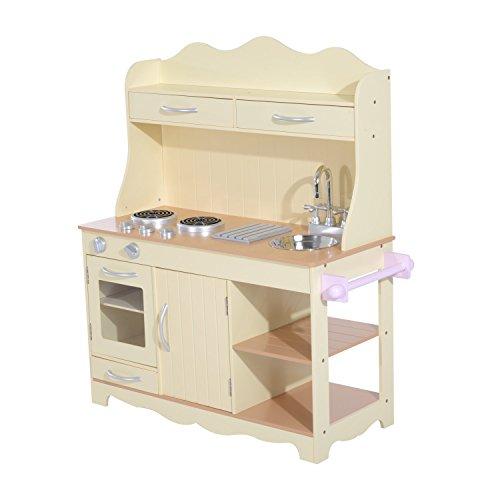 HOMCOM Holz Kinderküche Spielküche Spielzeugküche Kinderspielküche Spielzeug mit/ohne Zubehör/Fenster (Modell1/ Natur)