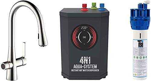 AquaNuTech 4N1-Plus Aqua System, Premium Filtered Water Purification, Digitally Controlled Instant Hot Water, Standard Hot/Cold Water, Brushed Nickel, Transitional Design, Four Features in One System