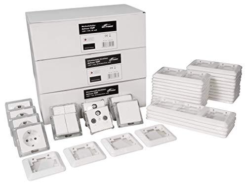 MC POWER - CUP - Wand Steckdosen und Schalter Set | Einfamilienhaus | 94-teilig | weiß, poliert
