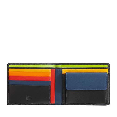 DUDU Portafoglio uomo RFID in pelle Nappa colorato con portamonete e porta carte Nero