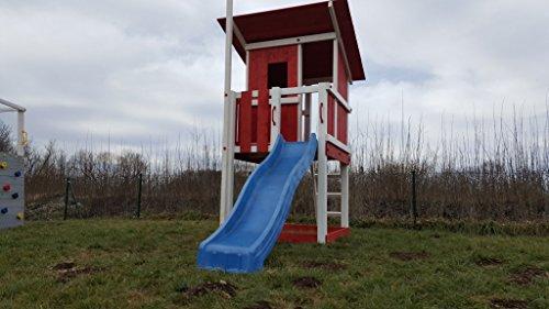 Blue Rabbit 2.0 Spielturm Beach Hut Podesthöhe 150cm ROT/WEIß mit Rutsche 300 cm und Holz