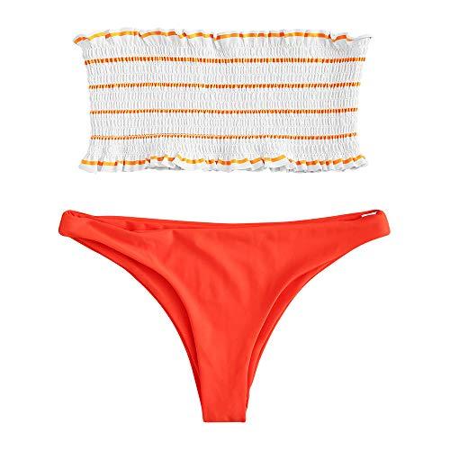 FUPOZ - Conjunto de bikini de rayas con volantes para mujer 035naranja S