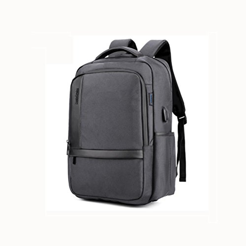 ZXJ Sac à Dos Ordinateur Portable 18 Pouces Imperméable Nylon Entreprise Décontractée Backpack Port de Chargement USB, Grey