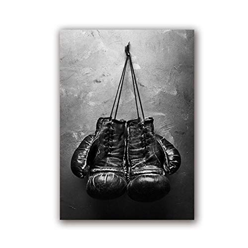 WSHIYI Boxhandschuhe Vintage Foto Poster Wandkunst Leinwand Malerei Schwarz und Weiß Bild Sport Drucke für Wohnzimmer Home Wall Decor-40x60 cm Kein Rahmen