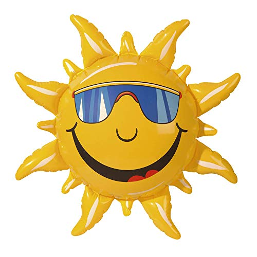 Widmann 2390S – aufblasbare Sonne, 60cm, gelb mit lustigem Gesicht, Dekoration, Aufblasware, Accessoire, Beachparty, Sommerfest, Motto Party, Karneval, Hawaii