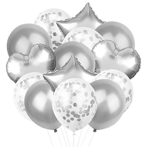 14 Piezas Globos de Fiesta, Conjunto de Mezcla de 5 Piezas Globos de Confeti, 5 Piezas Globos de Látex, 4 Piezas Globos de Lámina para Decoración de Cumpleaños, Ceremonia de la Boda
