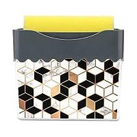 スポンジホルダー付きディッシュソープディスペンサー2in 1、洗剤プレス液体スポンジスクラバーホルダーケースキッチンシンク食器洗い用 金色の幾何学的な線と大理石のテクスチャ