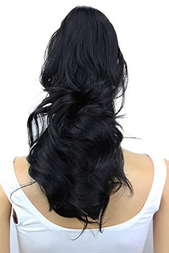 PRETTYSHOP 30-32 cm , 2 IN 1 Clip sur l'extension postiche Pièce de cheveux ondulé Look naturel fibres résistant à la chaleur Noir # 1 H300