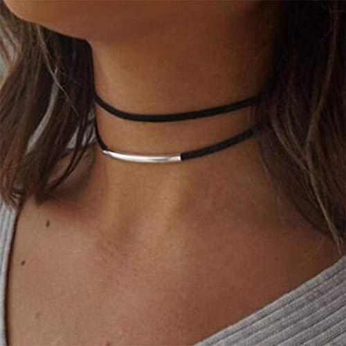 Mehrlagiges Kropfband für Frauen, schwarzes Samtband, kurze Halskette für Mädchen, Anhänger, Choker, Schmuck, Accessoires für Mode, Party, Abschlussball, Alltag (Stil 6)