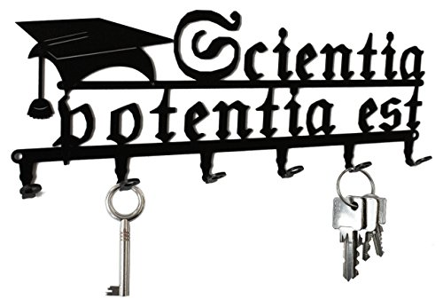 Tabla/Colgador de Llaves Scientia potentia EST - el Conocimiento es Poder - Soporte de Pared para Llaves - Metal - Negro - 6 Ganchos para Llaves