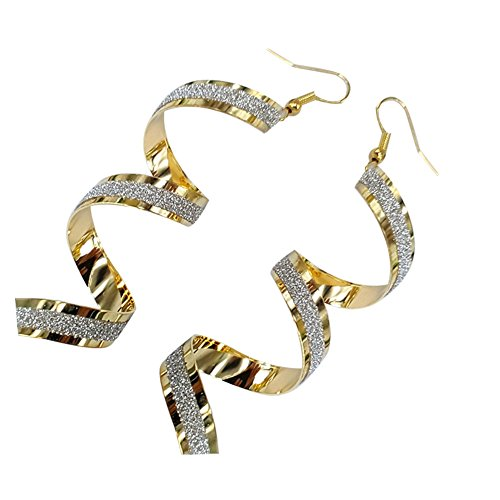 Hi Collie Women's Exquisite Sparkling Frosted Spiral Long Pierced Drop Earrings, Fashionable Curley Cue Twisted Spiral Gold Silver Loops Hook Dangle Earrings Stud Jewelry (Gold)