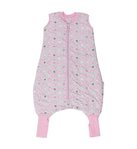 Slumbersac Saco de dormir de verano con pies 1.0Tog–simplemente rosa elefantes–varios tamaños gris Talla:12-18 meses