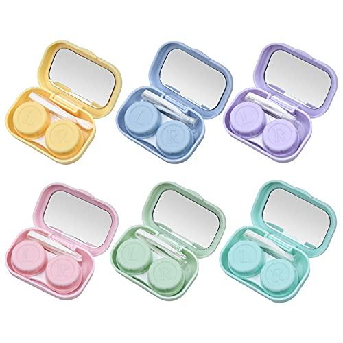Jinlaili 6er Pack Kontaktlinsenbehälter, Reise-Set für Kontaktlinsen, Kontaktlinsen Etui, Kontaktlinsen Behälter mit Spiegel, Pinzetten, Kontaktlinsen Entfernen, für Zuhause und Reisen, 6 Farbes