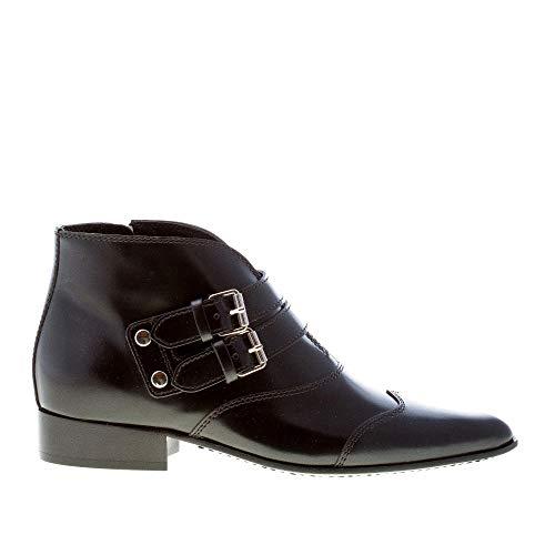 givenchy scarpe donna Givenchy Donna Stivaletto a Punta Serie in Pelle Nero con Zip e Doppia Fibbia. Tacco 2