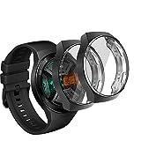 UCMDA Funda Huawei Watch GT 2E(Sport y Active Universal) - [2 Pack] Scratch-Proof Watch Screen Cover Funda Protector, Carcasa Protectora con Protector Pantalla de TPU, para Huawei Watch GT 2E (Negro)