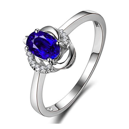 Ubestlove Ring Women White Gold Secret Santa Gifts Teenage Girl 0.5Ct Natural Sapphire Ring 0.5Ct L 1/2
