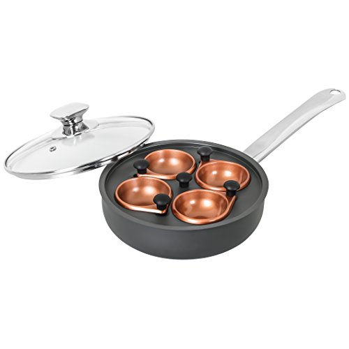 CONCORD Premium Copper Non Stick Egg Poacher Nonstick w/ 4 Trays Specialty Cookware Set. (Induction Compatible)