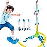 CestMall Lanzador de cohetes para niños, Lanzador de cohetes LED con 6 cohetes de espuma para jugar al aire libre Sky Rocket Launcher Air Rocket Toys Regalo para niños a partir de 3 años