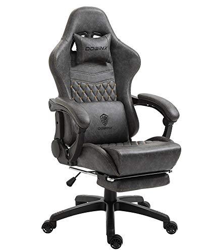 Dowinx Chaise Gaming Ergonomique Fauteuil de Bureau et PC avec Support Lombaire de Massage, modèle Vantage Siège de Travail en Cuir PU Haut Dossier pivotant...