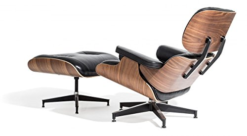 Mid Century Modern Classic Plywood Design Replica Style Walnut Wood Lounge Chair & Ottoman with Premium High Grade Black PU Leather